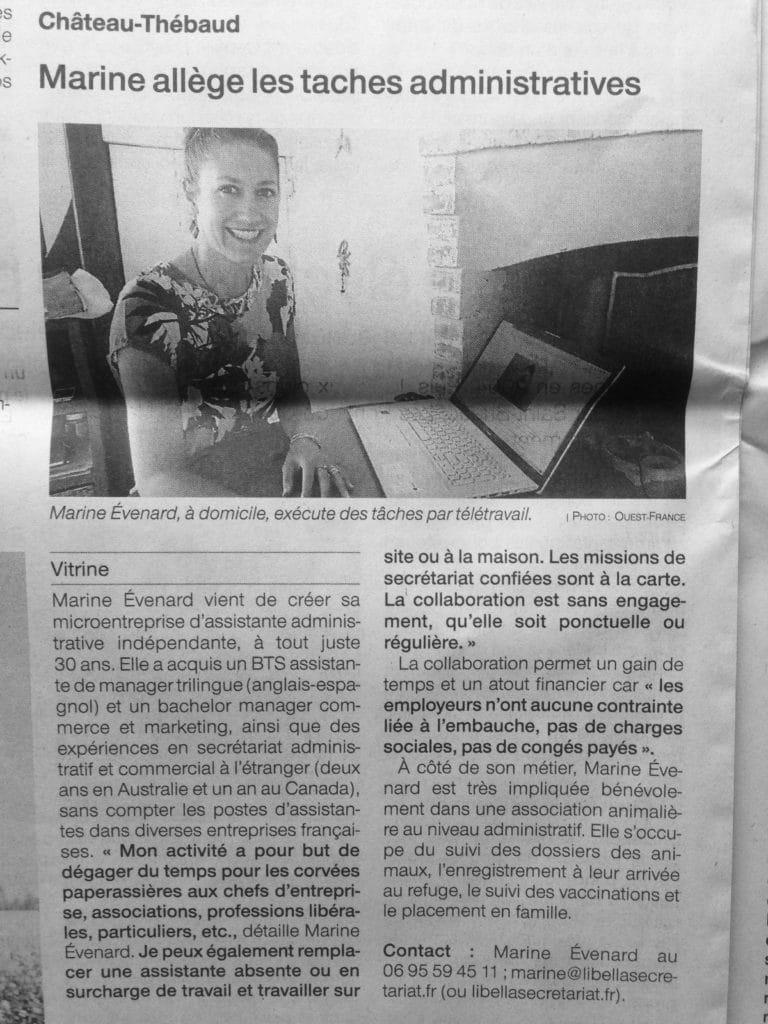 Ouest France Article de journal assistante vignoble nantais